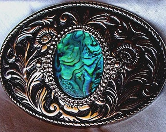Western Belt Buckle Featuring an Abalone Shell - Polished Silver Tone and Black Accents