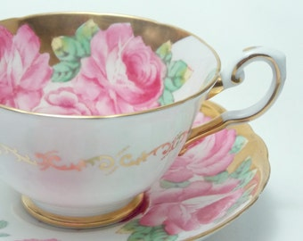 Tuscan Large Full Pink Roses Heavy Gold Tea Cup and Saucer Vintage Fine Bone China Made in England