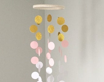 The Ella Mobile // Pink, White and Gold Shimmering Dots