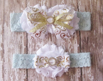 White and Gold Garter Set |  Something Blue Wedding Garters | Bridal Garter and Toss Garter | Other Lace Colors Available