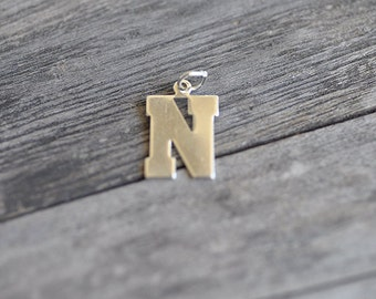 Letter N Charm Sterling Silver Alphabet Initial Capital Letters Made in USA