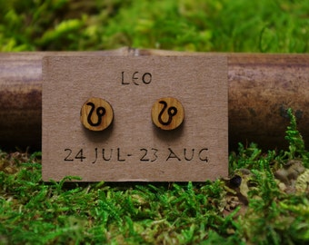 Leo zodiac laser cut bamboo stud earrings