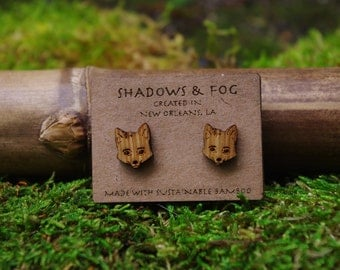 fox laser cut bamboo stud earrings