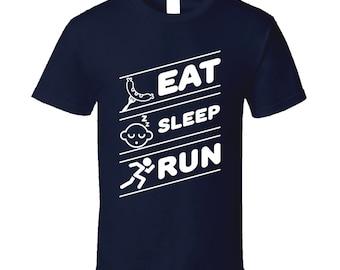 Eat Sleep Run Funny Running Runner Exercise Marathon T Shirt
