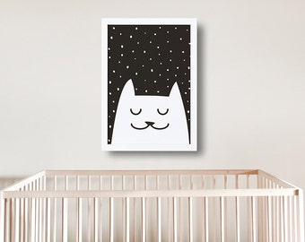 Meow Printable Art / Cat Print  / Wall Art / Nursery Print / New Baby Poster / Black and White Artwork / Printables