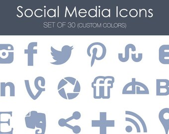 Social Media Icons -- Solid Set -- Great for blogs, portfolios, and websites! 30 customizable icons
