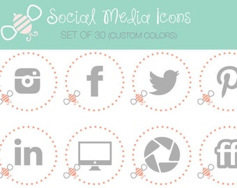 Social Media Icons -- Bee Set -- Great for blogs, portfolios, and websites! 30 customizable icons