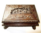 ANTIQUE Carved Wood Tramp Art Black Forest Box Jewelry Box w/Carved Paw Feet, Flowers