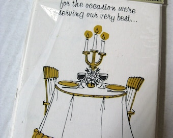 Vintage Dinner Party INVITATIONS, Humorous Cartoon Covers, Unused in Original Packaging, Funny, 60's Humor