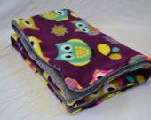 """Guinea Pig Cozy Cage Liner (Washable) - 2x1 C&C Cage (19"""" x 32""""), Purple Owls Fleece"""