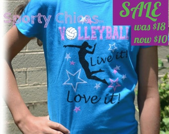Volleyball Shirt, Girls Volleyball Shirt, Volleyball Bling Shirt w/Live it! Love it!, I Love Volleyball, Volleyball Girl, Volleyball Gifts