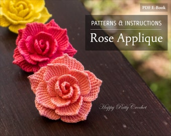 Crochet Rose PATTERN- Crochet Flower Applique Pattern - Crochet Flower Pattern for Rose Brooch - Instant Download - Flower Crochet Pattern
