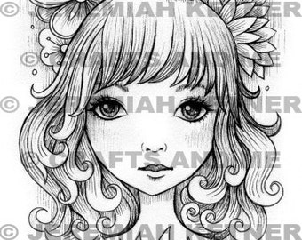 Digital Stamp - Instant Download - On My Mind - Fantasy Line Art for Cards & Crafts by Artist Jeremiah Ketner Exclusive for Crafts and Me