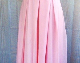 1970s Pastel Pink Maxi Dress with Lace Detailing