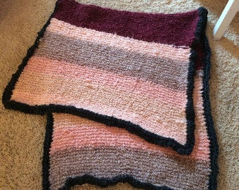 Coral Pink and Deep Red Hand-knitted Blanket with grey/black border