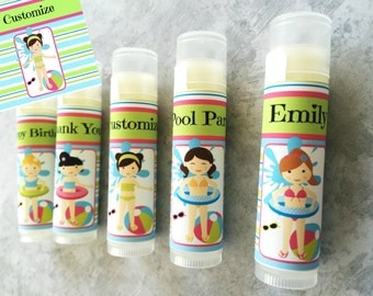 Pool Party Lip Balm Favors - Set of 5 - Pool Party - Pool Birthday - Girl Birthday Party - Pool Party Favors - Pool Party Chapstick