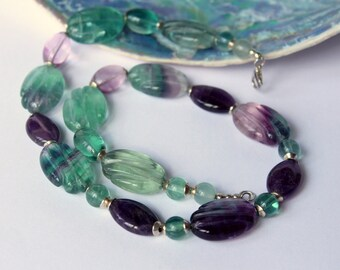 Rainbow Fluorite and Amethyst necklace, Beaded Gemstone Jewellery, Purple Green, Evening Party Dress, Feminine, Gift, Women Accessory