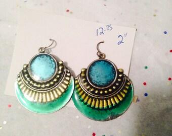 vintage earrings. Blue earrings. Green earrings.Egyptian looking earrings. Metal earrings. Round earrings. Silver and gold earrings.TBFB0693