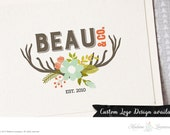 SALE Premade logo design floral rustic logo deer logo antler logo floral bouquet logo website logo blog logo woodland logo floral deer logo