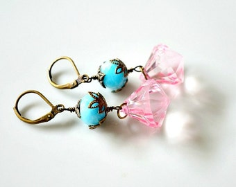 Blue Candy Jade With Pink Faceted Drop Earrings. Blue And Pink Antique Brass Vintage Style Earrings. Rondelle Drop Earrings. Dangle Earrings