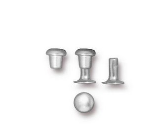4mm Bright Silver Rivet, TierraCast Silver Rivet Sets, 10 Sets Cold Connection, Silver Rivets, Leather Rivets, Rivets for Leather