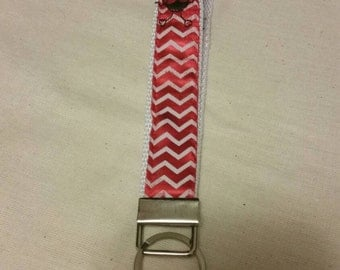 Handmade Red Chevron Key Fob/Wristlet with Embroidered Ladybugs