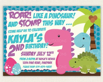 Girl Dinosaur Birthday Invitation Dino Pink Purple Blue