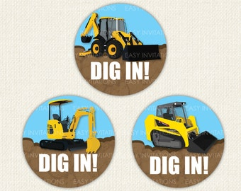 Digger Tractor Birthday Stickers Bobcat Excavator Loader 12X 60mm Glossy Printed
