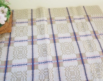 Swedish Vintage Linen Table Cloth, Grey Blue Squares, 94 x 90 cm / 37'' x 35,4'' Table Decor, Square Table Cloth @104