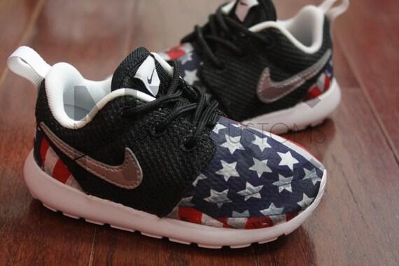 21f31c30d4d8f1 Nike Roshe Run Black White American Flag Pride V5 by NYCustoms on sale