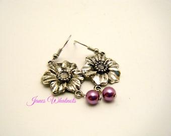 Purple Earrings - Flower Earrings - Dangle Earrings - Purple Dangle