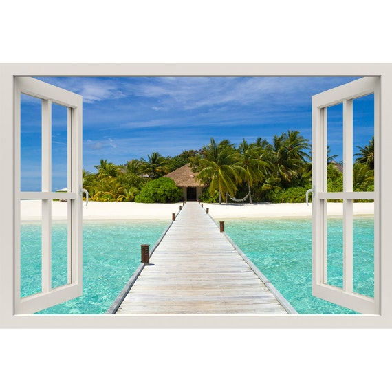 Window frame mural beach on a tropical island huge size for Beach window mural