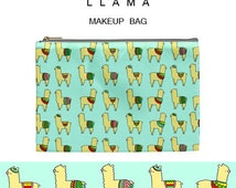 Llama makeup bag,kawaii,llama,makeup bag,pouch,gift,cosmetic bag,cute,bag,pink,cute gift,girly,xmas,unicorn,christmas,6,dia de los muertos,5