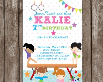 Gymnastic Birthday Invitation Printable, Gymnastic Party, Gymnastic Personalized