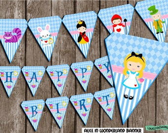 Alice in Wonderland Banner, Alice Birthday banner, party banner, Banner printable, Instant Download PDF