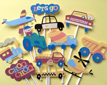 Cars and trucks cupcake toppers, 10 cars cupcake toppers, police cupcake toppers, taxi cupcake toppers, airplane toppers, transportation!