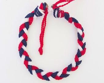 Red,White and Blue,  Patriotic,fourth of July (kids,baby,toddler,adult) bracelet/anklet, waterproof,string bracelet, ADVENTURE BRACELETS