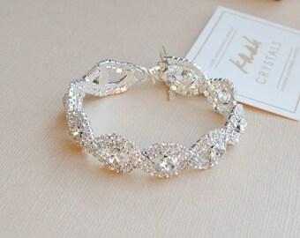 Silver or Gold Crystal Wedding Bracelet, Luxe Bridal Bangle Bracelet
