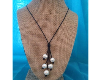 Pearl Lariat Leather Necklace