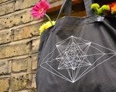 SALE! Geometric Design Tote Bag, Organic Cotton Tote Bag, Hand Screenprinted, Black with White Geometric Design, Shopping Bag, Reusable Bag,