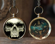Vampire Skull Compass Necklace, Goth Jewelry, Vampire Jewelry, Compass Jewelry, Gift Idea, Twilight, Skull Necklace, Compass