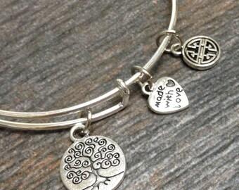 Tree of Life and more Expandable Bangle Bracelet, Adjustable Charm Bangle Bracelet Stackable, Heart Lock, Hand, Owl bangles