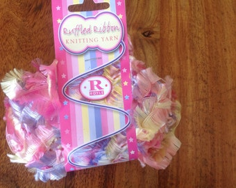 Multi pink ruffled ribbon yarn shiny ribbon yarn