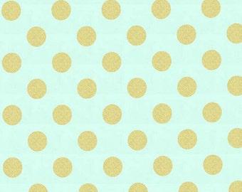 Michael Miller - Glitz Quarter Dot Mint with Gold (Half metre)