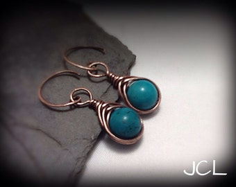 Copper Wire Herringbone Drop Earrings with Turquoise