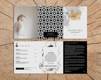 Pandora photography trifold brochure design - Instant download