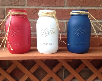 Patriotic Mason Jars, Americana decor, red white blue Mason jar, 4th of July Mason jar, patriotic decor
