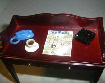 Miniature Dollhouse Desk Set, Blue Old Style Telephone, Ashtray, Coffee, Magazine 1/12 Scale
