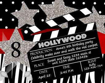 Hollywood invitation- Hollywood birthday party-Makeover party- Movie stars makeover-printable digital file red black stripes