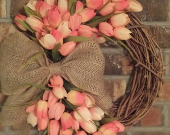 Tulip Wreath - Grapevine - Tulip Wreath - Pink Tulips - Spring Wreath - Summer wreath